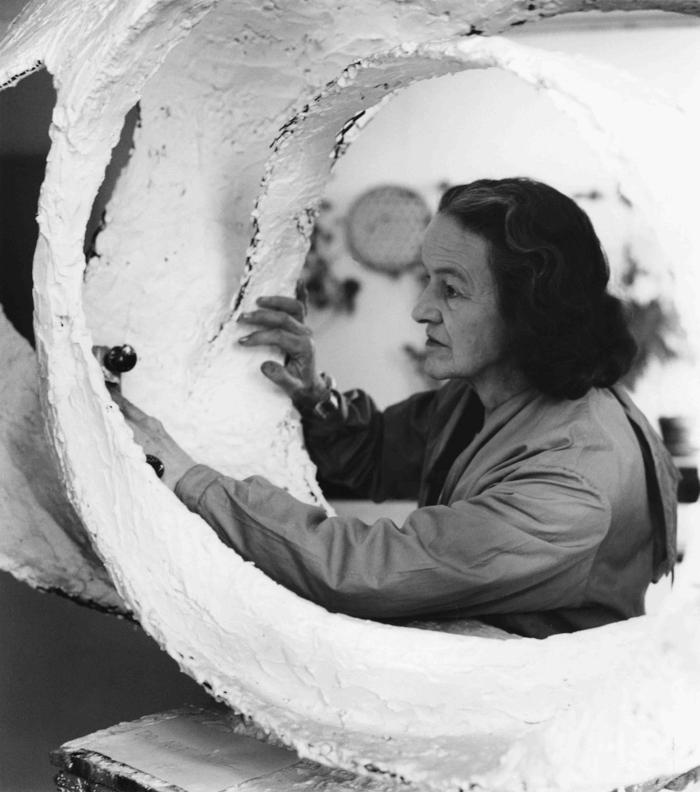 Hepworth at work on the plaster for Oval Form (Trezion), 1963. Image Credit: BOWNESS, HEPWORTH ESTATE / JERRY HARDMAN-JONES