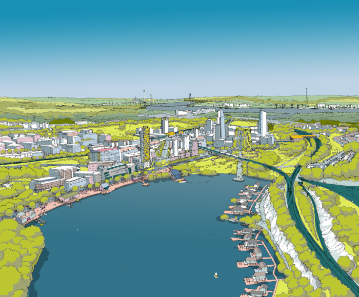 This image The garden city in Ebbsfleet is designed to offer retail, work and civic convenience within relatively easy walking distances