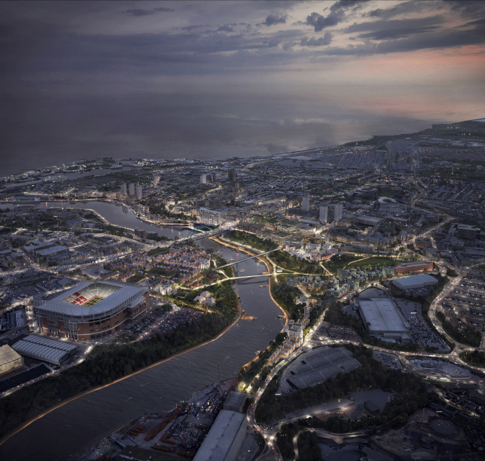 This image The Sunderland Riverside project, developed at the instigation of the local council, has pivoted regeneration away from the suburbs and back to the city centre