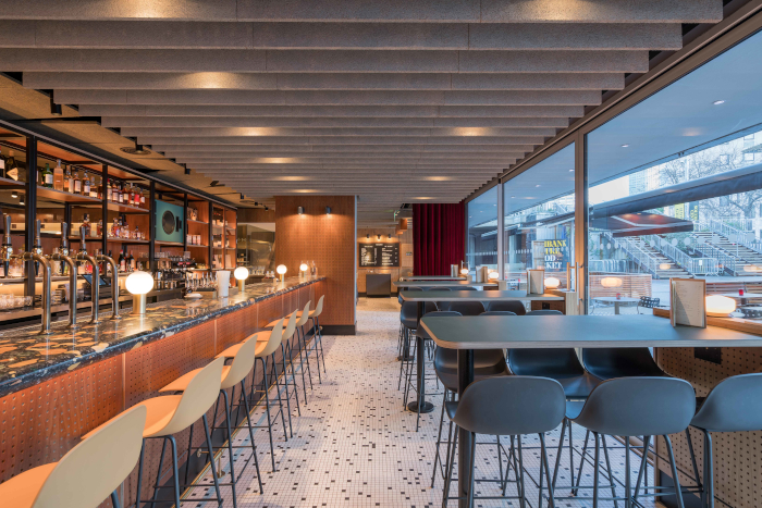 This image The multifunctionality of the bar and restaurant is augmented by clever design – such as putting the cafe and bar seating towards the front, and keeping more private dining areas to the back. Image Credit: CHRIS ANSELL