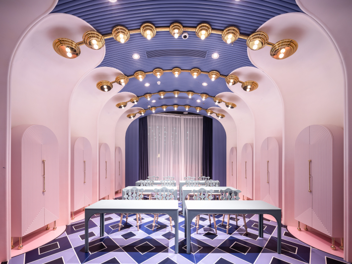 The ebullient pink restaurant space