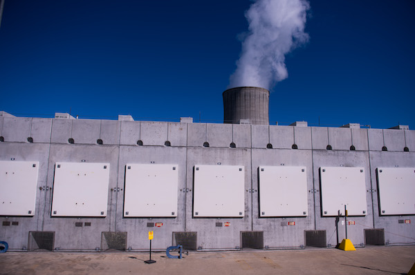 Used nuclear fuel is currently held in dry cask storage at reactor sites, pending solutions for consolidated interim storage or final disposal. Source: Orano.