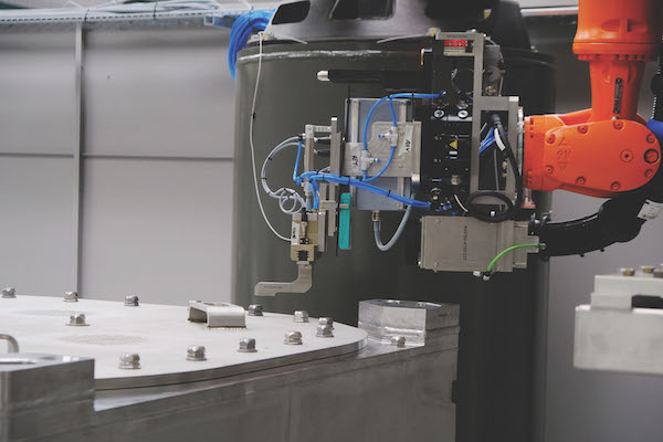 Robot being taught the swabbing sequence (Photo credit: Cavendish Nuclear)