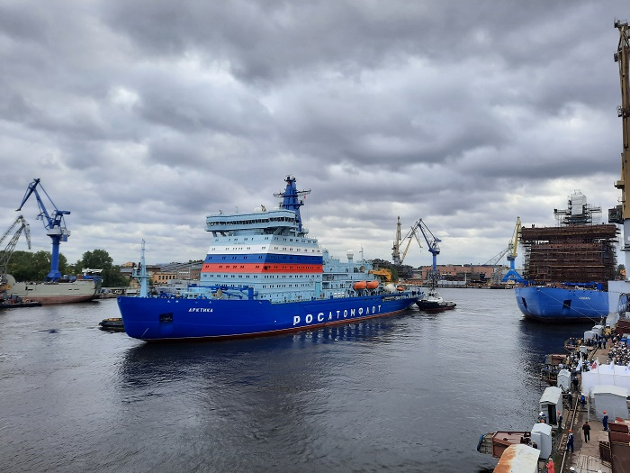 Arktika left the Baltiysky Zavod shipyard in St. Petersburg on 22 September and headed for Murmansk (Photo: Rosatom)