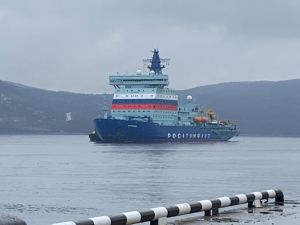 Arktika arrived back at the port of Murmansk after completing ice tests in the North Pole region (Credit: Atomflot)
