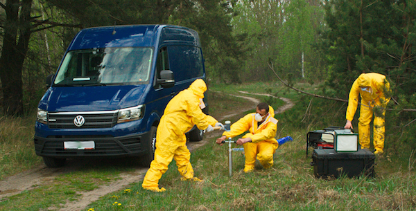 Crew of the new mobile laboratory on a practical training exercise for soil and air sampling in the Chernobyl Exclusion Zone in May 2020. (Roman Nenashev, Polessie State Radio-Ecological Reserve, Republic of Belarus??)