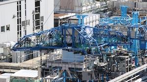 Dismantling exhaust stack at Fukushima Daiichi units 1&2 began in December 2019 (Photo: Tepco)