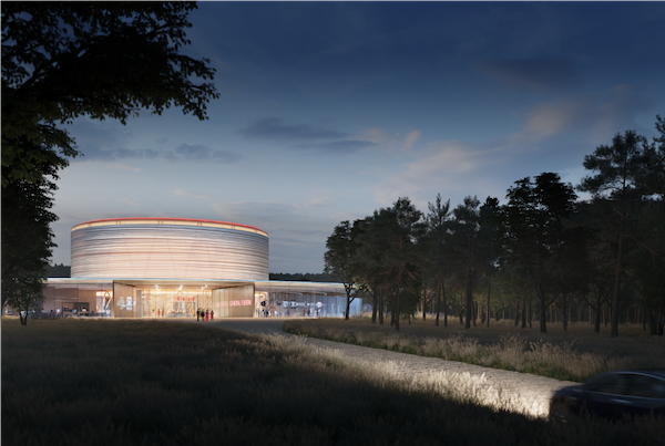 Exterior rendering of the Fusion Demonstration Plant facility at night (Credit; General Fusion)