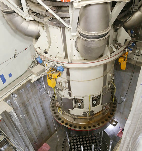 The Integrated Head Package (IHP) for Vogtle 3 has been set into place atop the reactor vessel (Photo: Georgia Power)