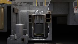 Photo: Rendering of the IMSR® Core-unit (Credit: Terrestrial Energy)