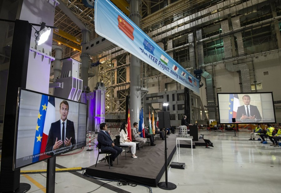 On 28 July in the ITER Assembly Hall, a vitural ceremony was held to mark start of assembly Photo credit: ITER Organization