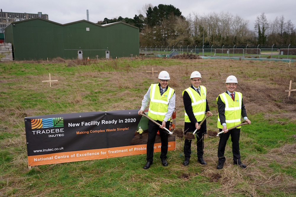 (From Left to right) Head of Operations, Tradebe Inutec , Andy Anderson; Chief Executive of the Nuclear Industry Association, Tom Greatrex; Tradebe Inutec's Managing Director, Brian Mulholland, at the ground breaking ceremony held at the Winfrith site.