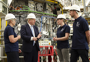 UK prime minister Boris Johnson visits Culham on 8 August