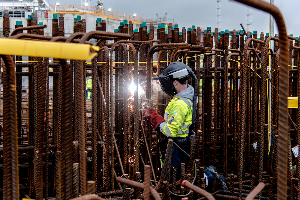 Rebar welding work on the Hinkley Point C nuclear island in January 2020 (Credit: EDF Energy)