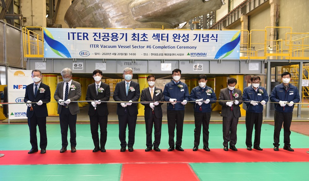 A ceremony was held on 20 April in Ulsan, South Korea, to mark the completion of the first ITER vacuum vessel sector (Credit: Iter Organisation)