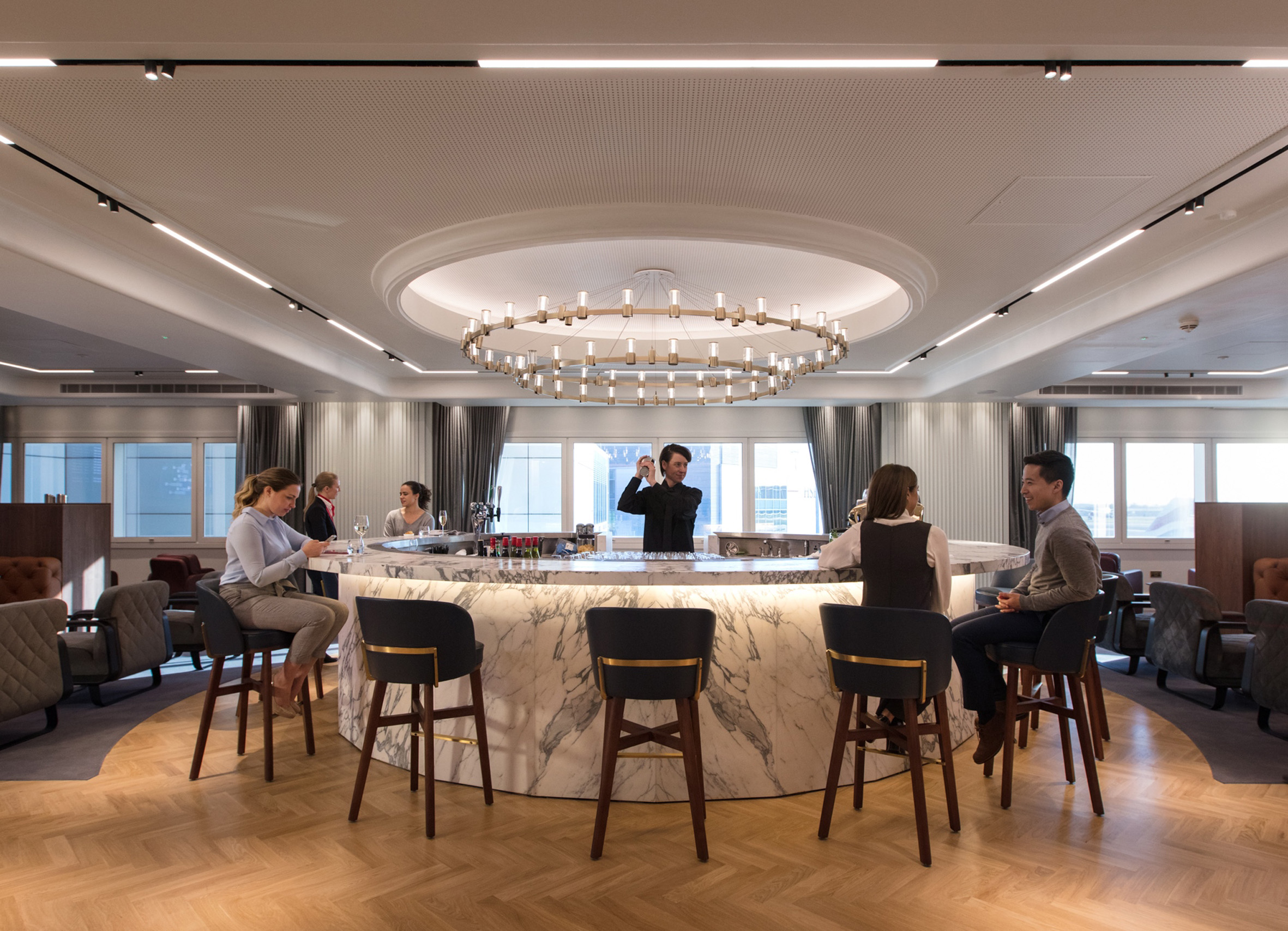 Sneak a peek at the interiors of Qantas\' London Lounge - DesignCurial