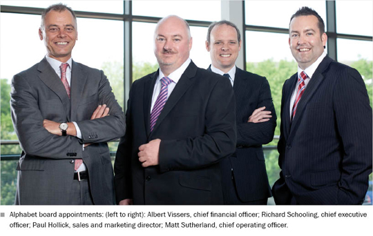 Photo of the Alphabet board appointments: (left to right): Albert Vissers, chief financial officer; Richard Schooling, chief executive officer; Paul Hollick, sales and marketing director; Matt Sutherland, chief operating officer.