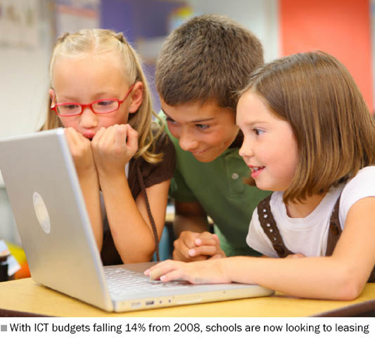 Photo of young children playing with a laptop