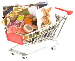 Image of shopping trolley holding paintings