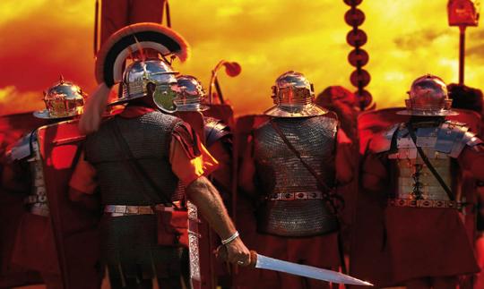 Picture of Roman legionnaires preparing for battle