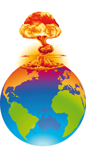 Illustration of a nuclear bomb destroying the globe