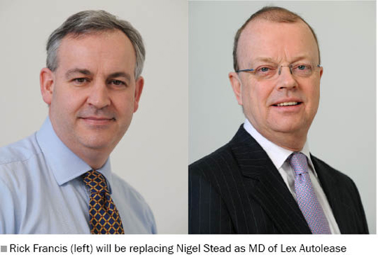 Picture of Rick Francis (left) who will be replacing Nigel Stead (right) as MD of Lex Autolease
