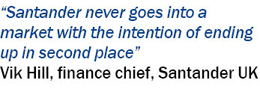 Pull quote from Vik Hill, finance chief, Santander UK