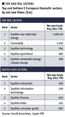 Table showing top and bottom 5 European thematic sectors by net new flows
