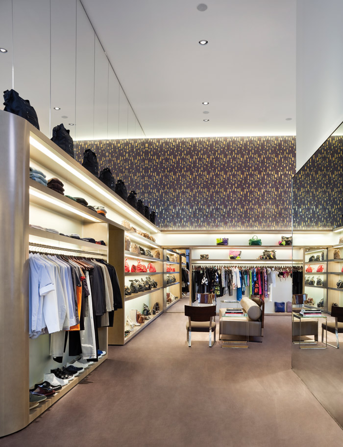 The discreet detailing and low-glare lighting in a Marc Jacobs Collection boutique reinforces a more elegant feeling Paul WarChol