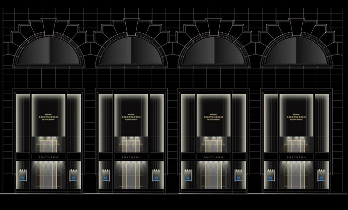Illuminationworks' lighting concept shows how linear light detailing will emphasise the repeating 5m-tall display window configuration at Smythson Madison Avenue, New York