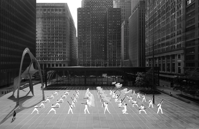 The South Side Drill Team choreographed by Bryony Roberts performs below Mies-designed volumes in Federal Plaza. Photo: Tom Harris