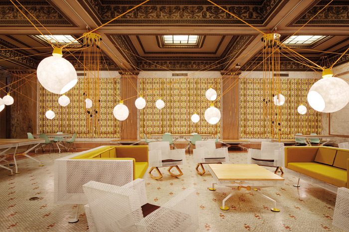 Pedro & Juana's decor and installation, Randolph Square, created a warm trans-spatial experience in the reception lounge