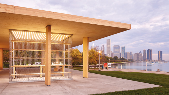 Hark! Cross-laminated timber design reaches the US! The BP Prize-winning kiosk: Chicago Horizon by Yasmin Vobis, Aaron Forrest and Brett Schneider of Ultramoderne, with skyscrapers and Lake Michigan. Photo: Tom Harris
