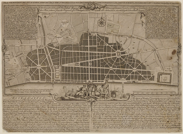 Sir Christopher Wren's Plan for Rebuilding the City of London after the Great Fire of 1666. Photo: RIBA Collections