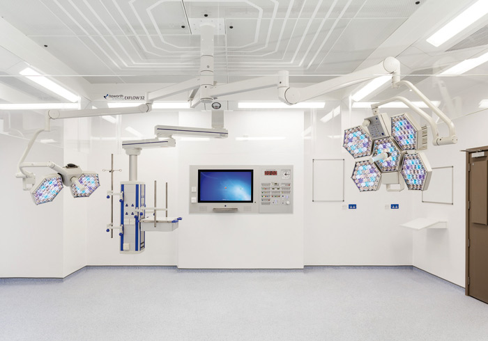 In this theatre at the Royal London Hospital the flooring is Pastell Conductive, from Armstrong Floor Products