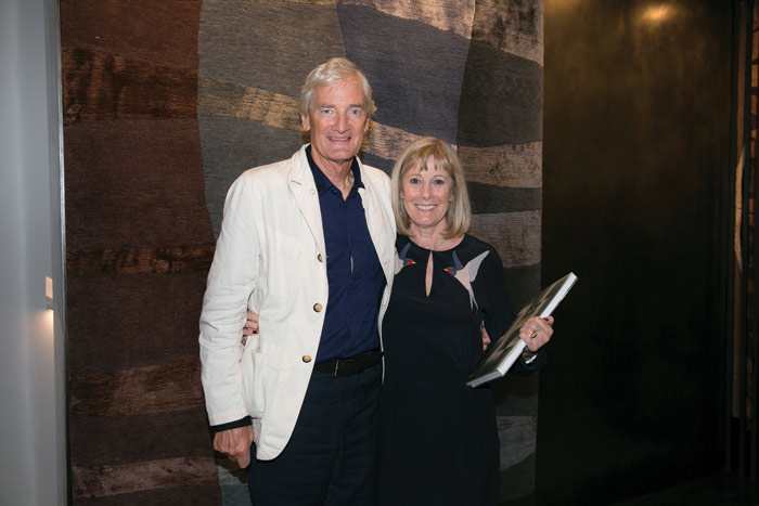 Deirdre Dyson, pictured with her husband James, at the launch of her book Walking on Art: Explorations in Carpet Design, published last year