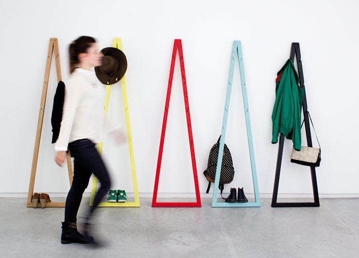 "Pendura Coatstand is designed to take up minimal space by putting it against a wall. Mendes and Macedo say: 'It is a piece always ""decorated"" with coats.'"