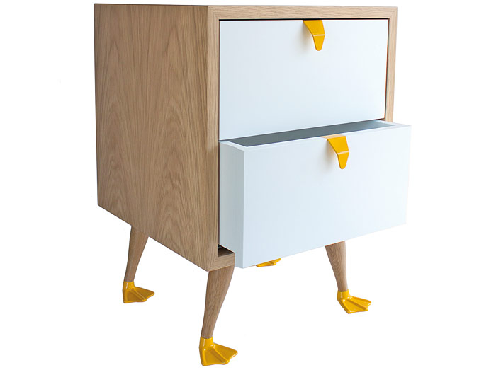 "Tio end table 'This was our second product to be designed and produced and it was the product that gave rise to our brand motto – ""follow the FUN-ction"",' the duo explain. It's a popular piece, with its webbed feet creating smiles as well as storage."