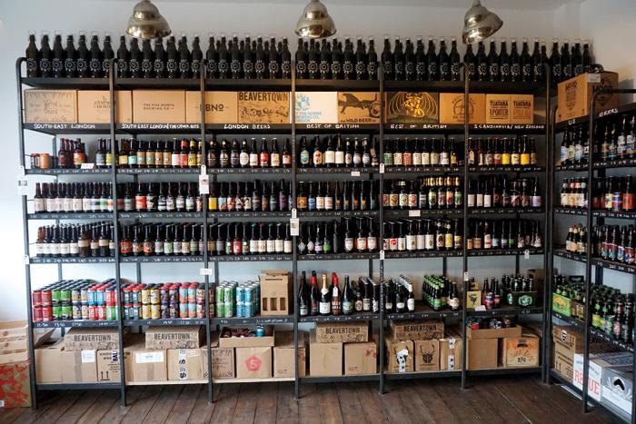Bottles arranged on open shelves make an attractive feature