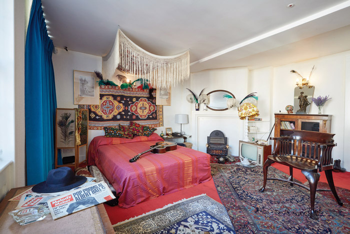 The main room of 23 Brook Street faithfully recreated from pictures from the 1969 photoshoot. Photo: Michael Bowles-Handel & HendrIx In London