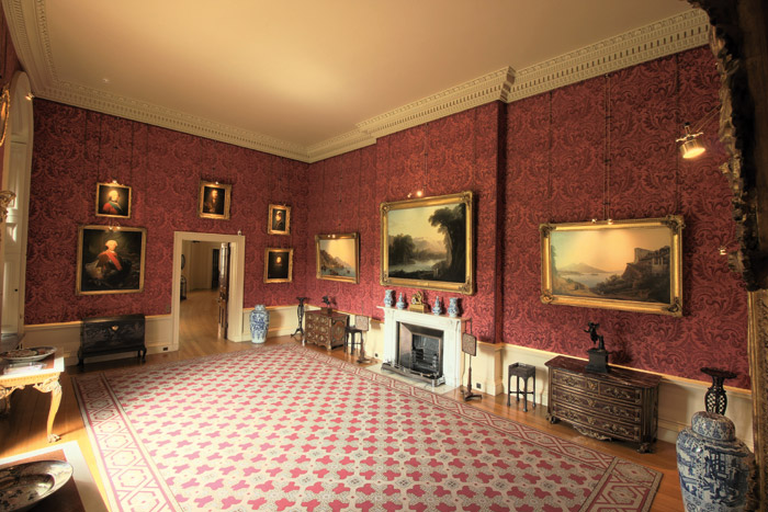 Daylight measurement for the Smoking Room at Ickworth House (left): the derived daylight illumination field (in lux) for one moment in time – the electric light contribution has been subtracted