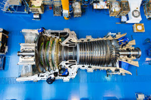 The picture shows the first HA gas turbine being manufactured at GE's Belfort facility in France