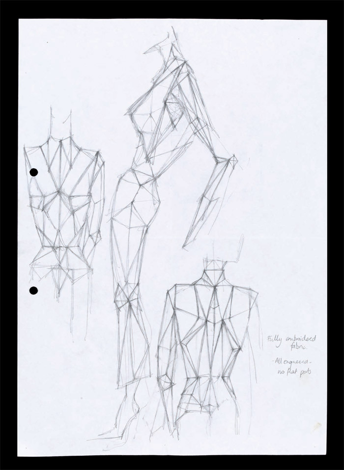 Sketch, Scanners, Autumn/Winter 2003. Pencil on paper, London 2003