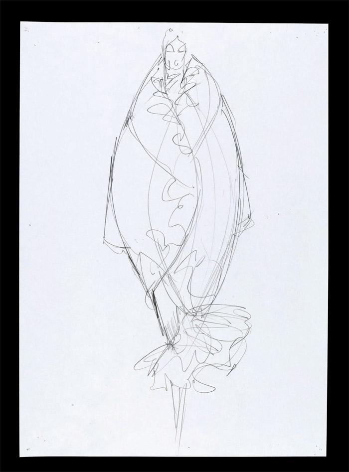 Sketch, Pantheon ad Lucem, Autumn/Winter 2004. Pencil on paper, London 2004