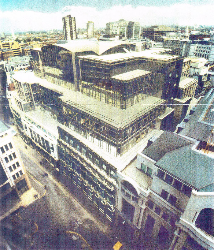 GMW's design to replace the Baltic Exchange after the 1992 bombing were were drawn up in consultation with English Heritage Courtesy GMW