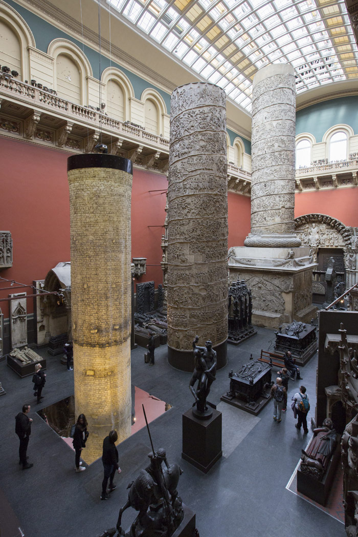 The Ethics of Dust, a giant latex cast by Jorge Otero Pailos of the interior of 19th century cast of the Trajan Column in Rome. Photo: Peter Kelleher/Victoria & Albert Museum, London 2015