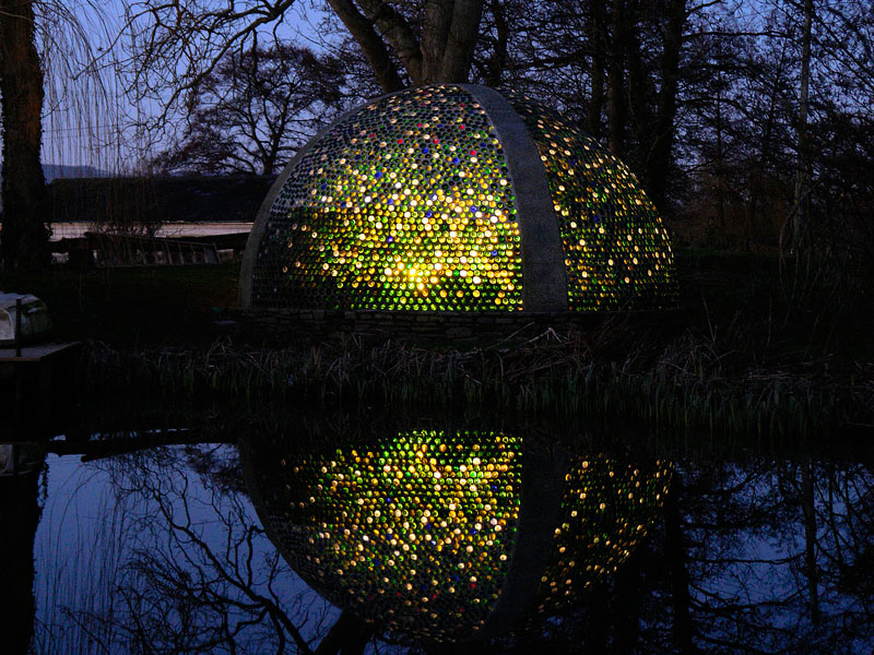 Richard Pimm created his Bottle Dome, also known as The Fernery, at Westonbury Mill, Herefordshire, from recycled wine and sherry bottles. Photo Credit: JRichard Pimm.