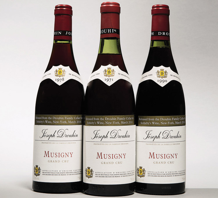 Bottles from three of the Drouhin Musigny lots that sold well at Sotheby's New York on March 7