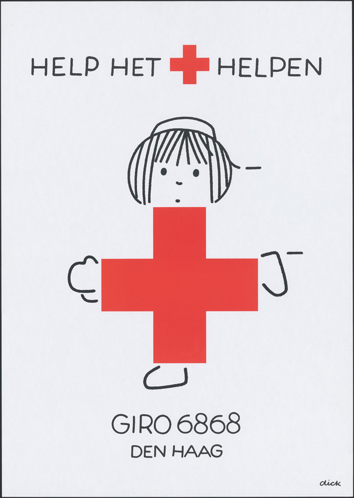 A poster design for the Red Cross (1991). Photo:Dick Bruna, Centraal Museum Utrecht / Mercis BV