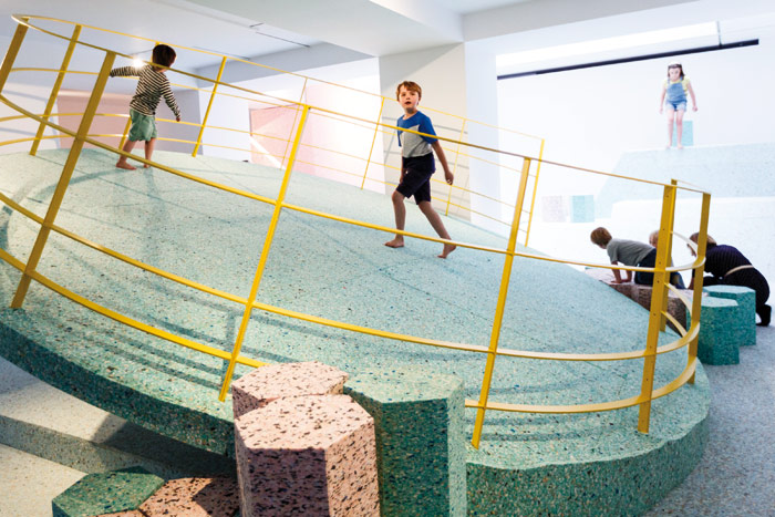 The Brutalist Playground, a collaboration between Assemble and artist Simon Terrill at the RIBA. Photo Credit: Photo by Tristan Fewings Getty Images For Riba